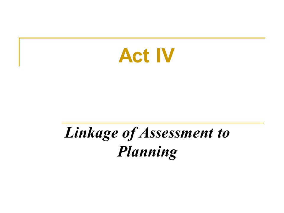 Linkage of Assessment to Planning