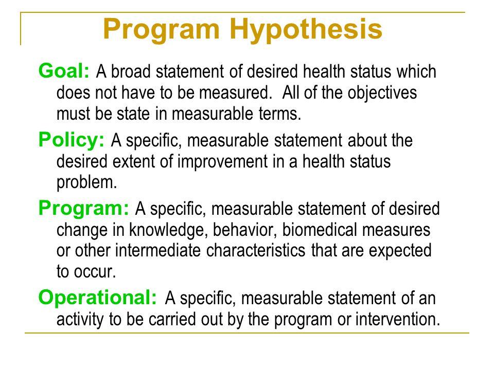 Program Hypothesis