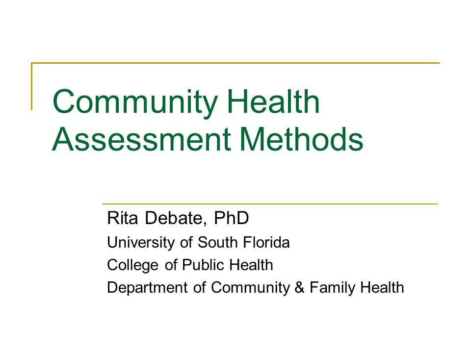 Community Health Assessment Methods