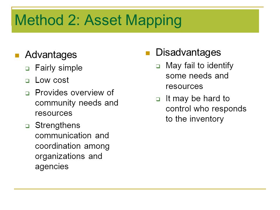 Method 2: Asset Mapping Disadvantages Advantages