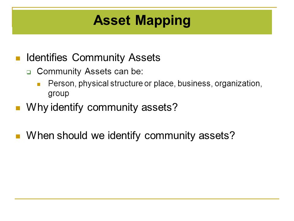 Asset Mapping Identifies Community Assets