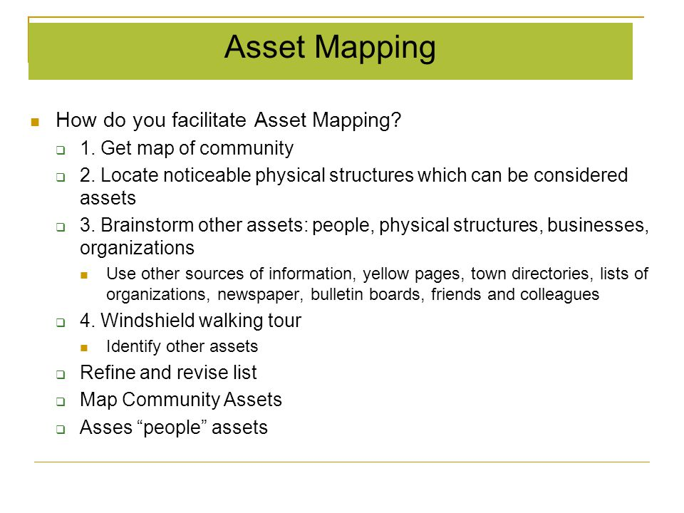 Asset Mapping How do you facilitate Asset Mapping