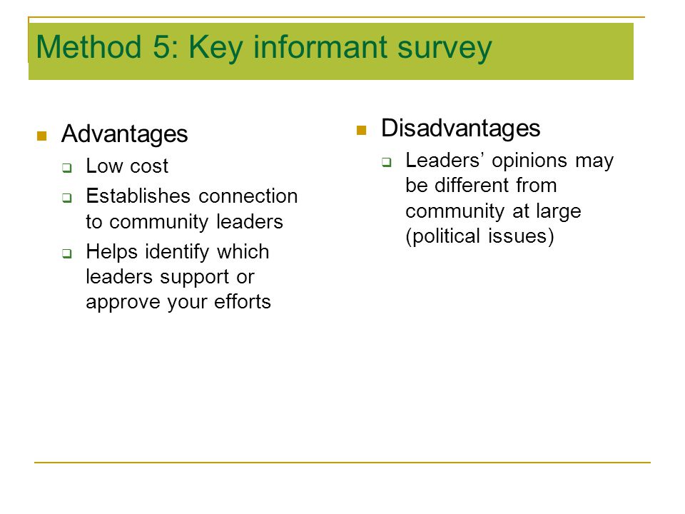 Method 5: Key informant survey