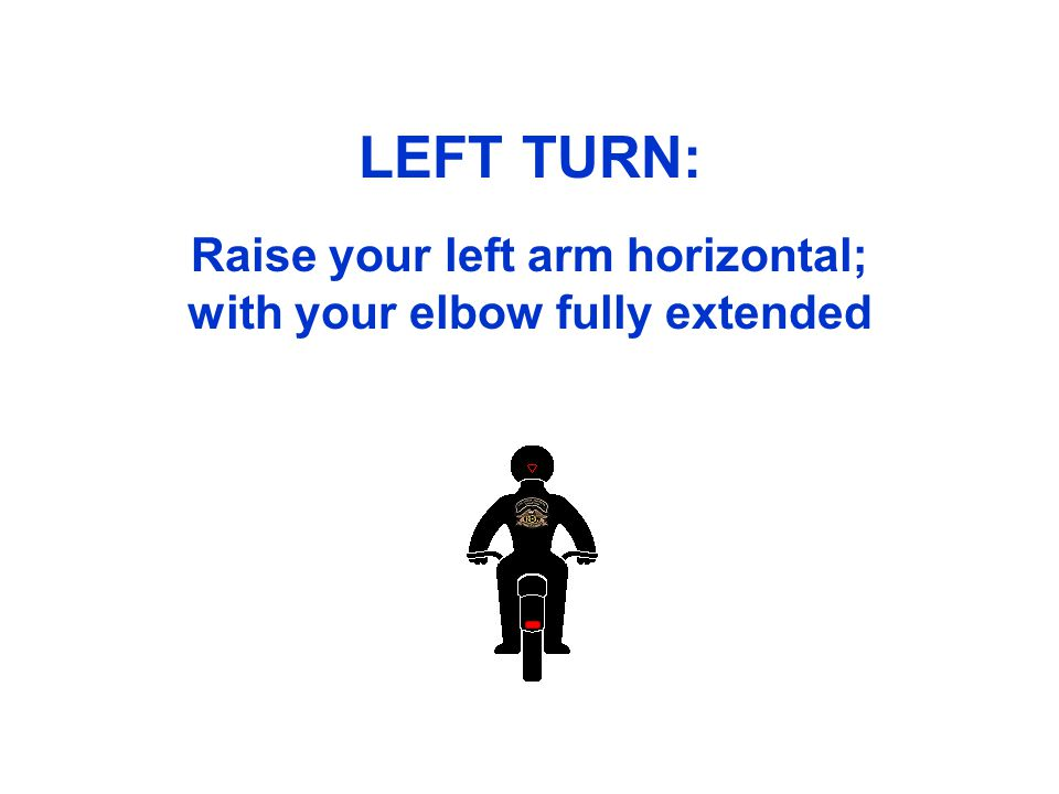 LEFT TURN: Raise your left arm horizontal; with your elbow fully extended