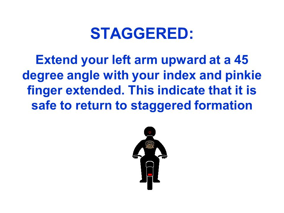 STAGGERED: Extend your left arm upward at a 45 degree angle with your index and pinkie finger extended.