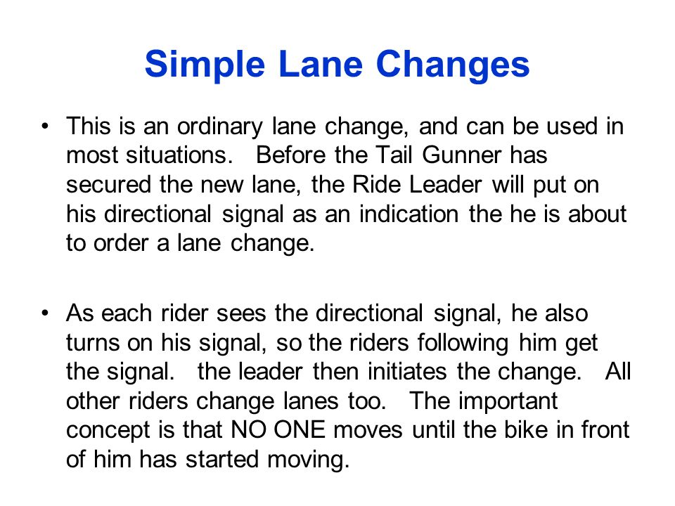 Simple Lane Changes