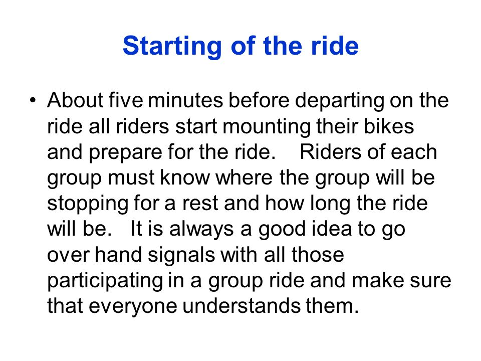 Starting of the ride
