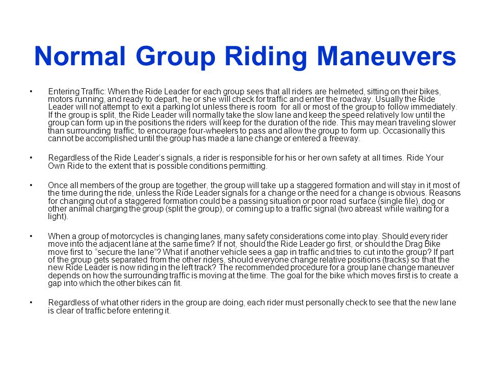 Normal Group Riding Maneuvers
