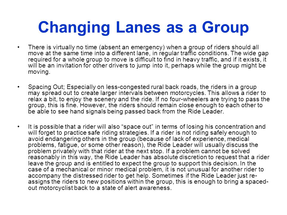 Changing Lanes as a Group