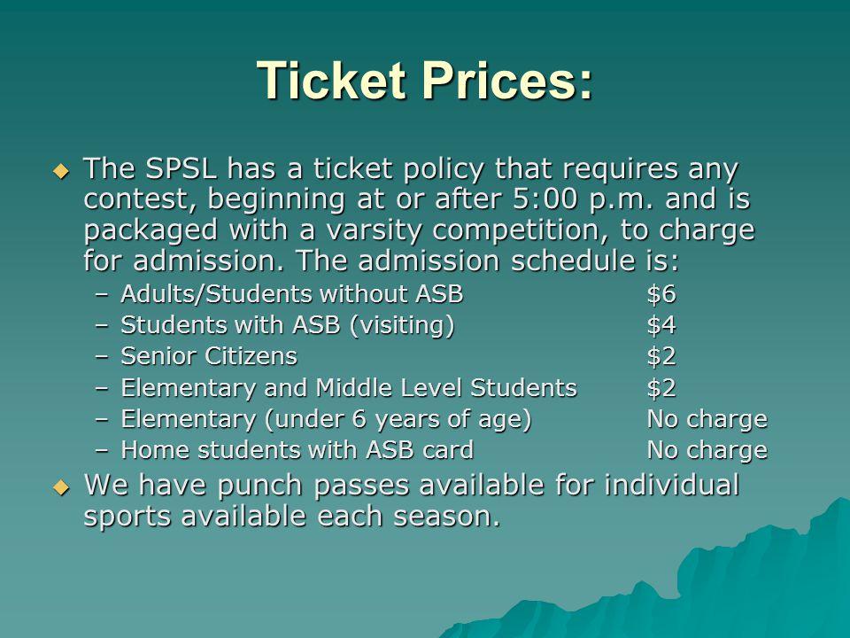 Ticket Prices: