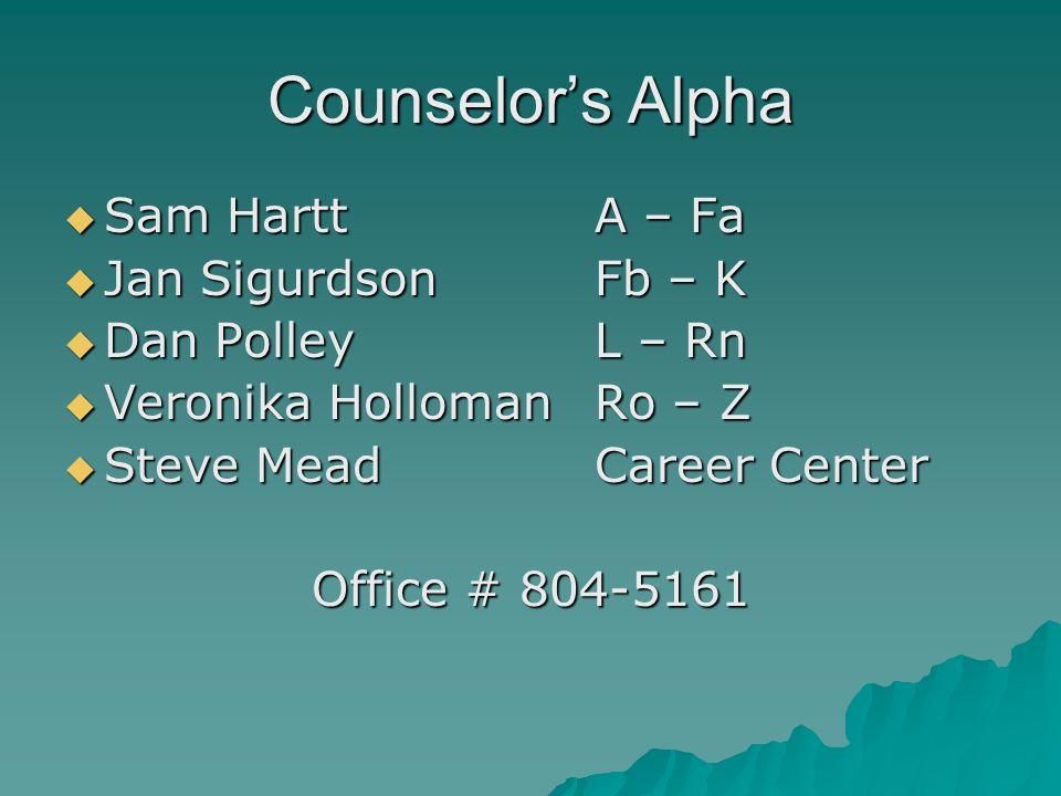 Counselor's Alpha Sam Hartt A – Fa Jan Sigurdson Fb – K
