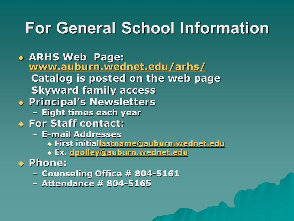 For General School Information