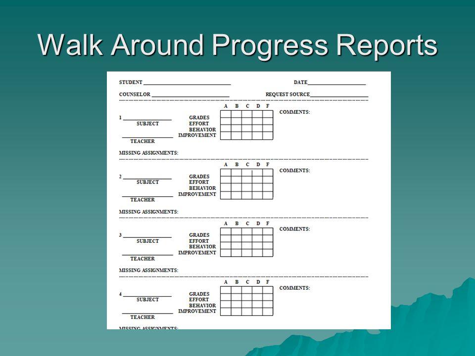 Walk Around Progress Reports
