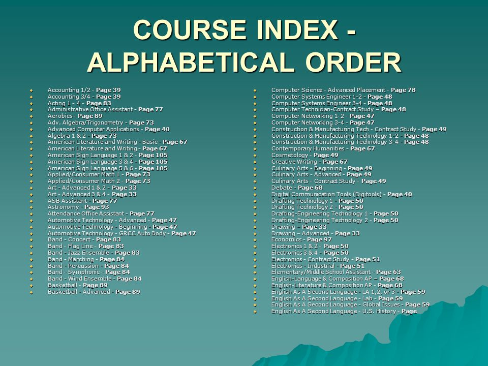 COURSE INDEX - ALPHABETICAL ORDER