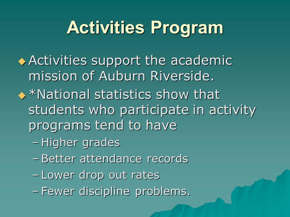 Activities Program Activities support the academic mission of Auburn Riverside.