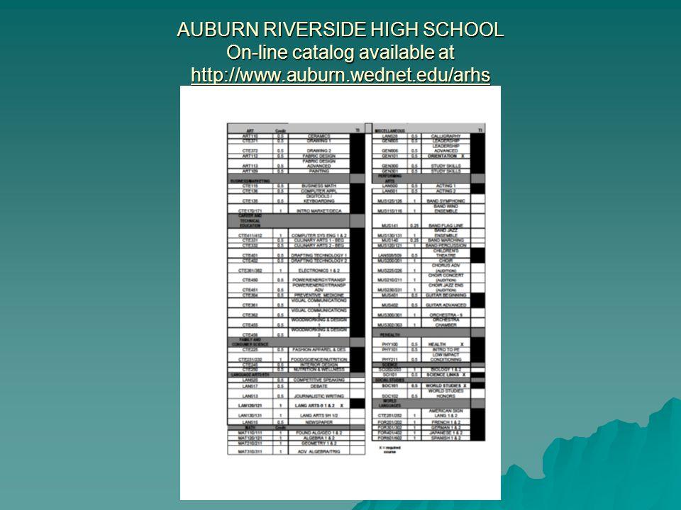 AUBURN RIVERSIDE HIGH SCHOOL On-line catalog available at http://www