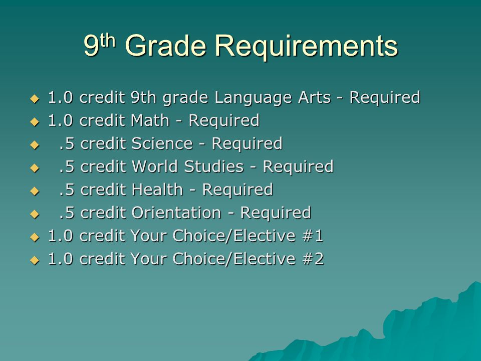 9th Grade Requirements 1.0 credit 9th grade Language Arts - Required