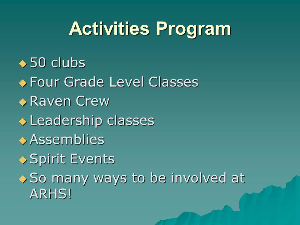Activities Program 50 clubs Four Grade Level Classes Raven Crew