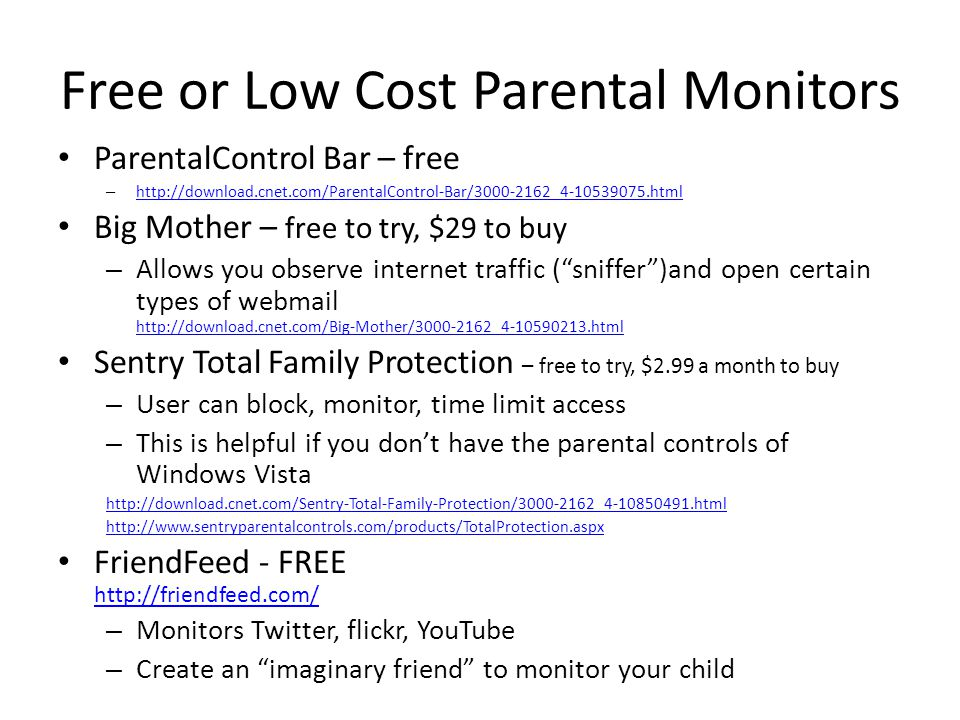 Free or Low Cost Parental Monitors