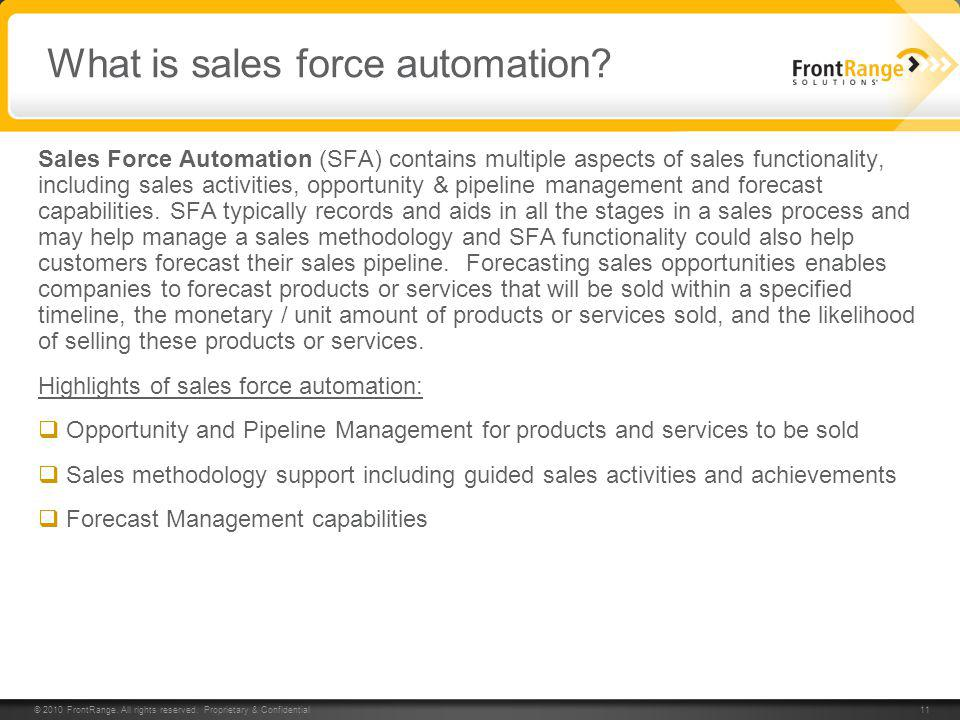 What is sales force automation