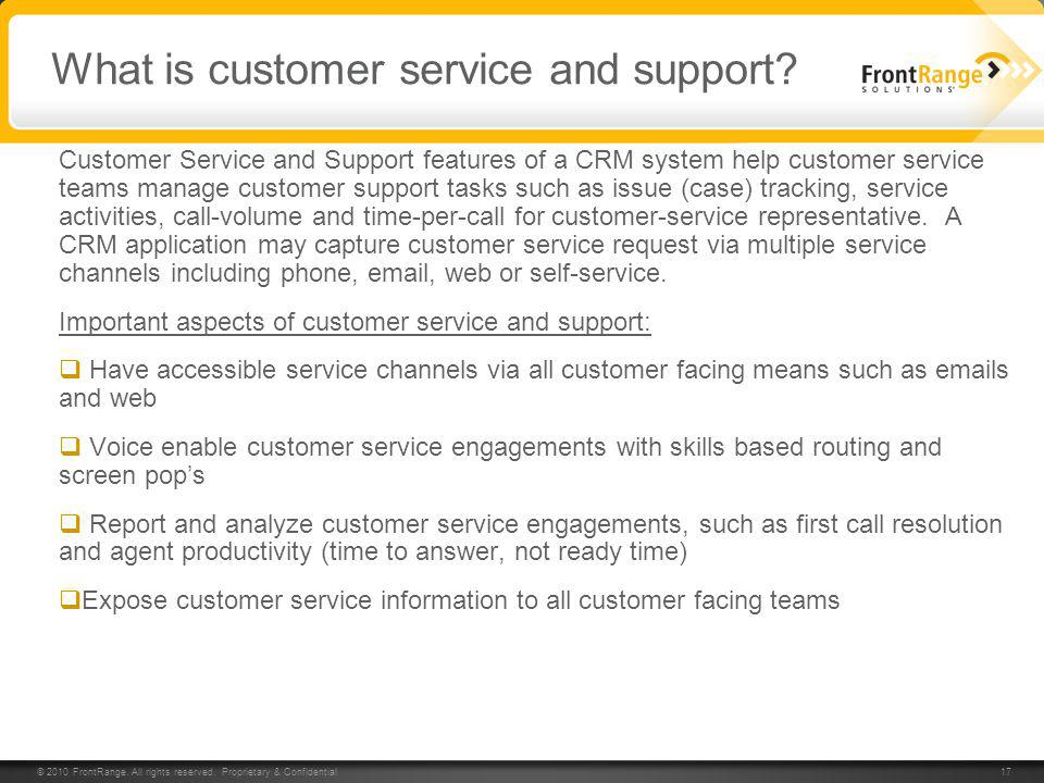 What is customer service and support
