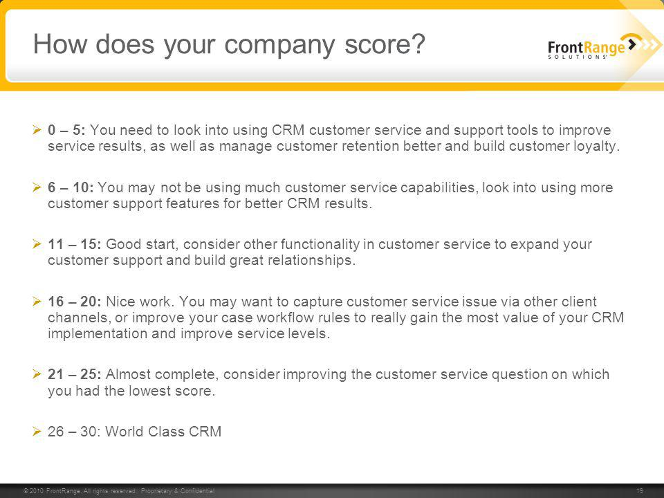 How does your company score