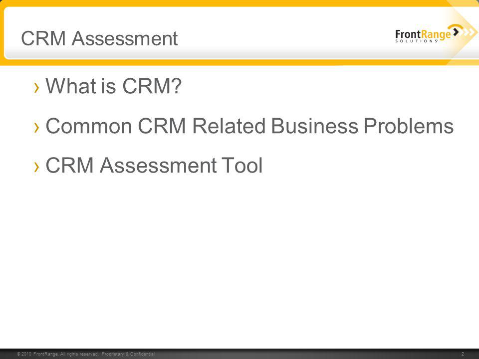 Common CRM Related Business Problems CRM Assessment Tool
