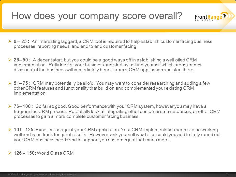 How does your company score overall