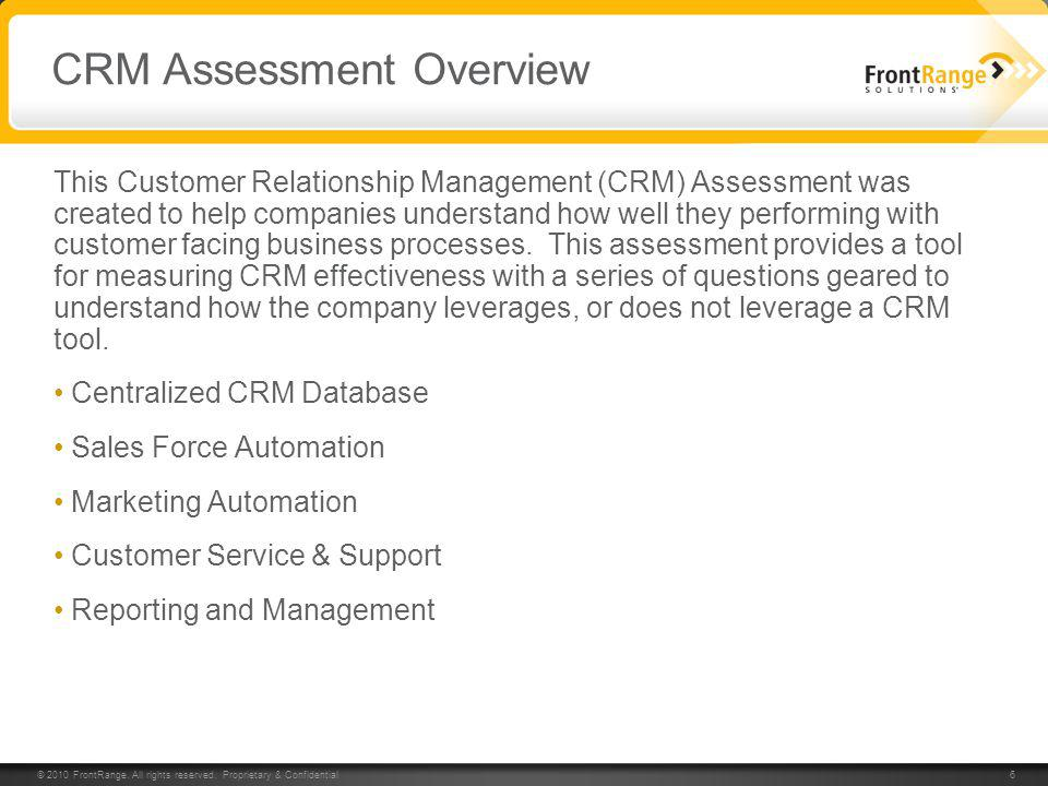 CRM Assessment Overview
