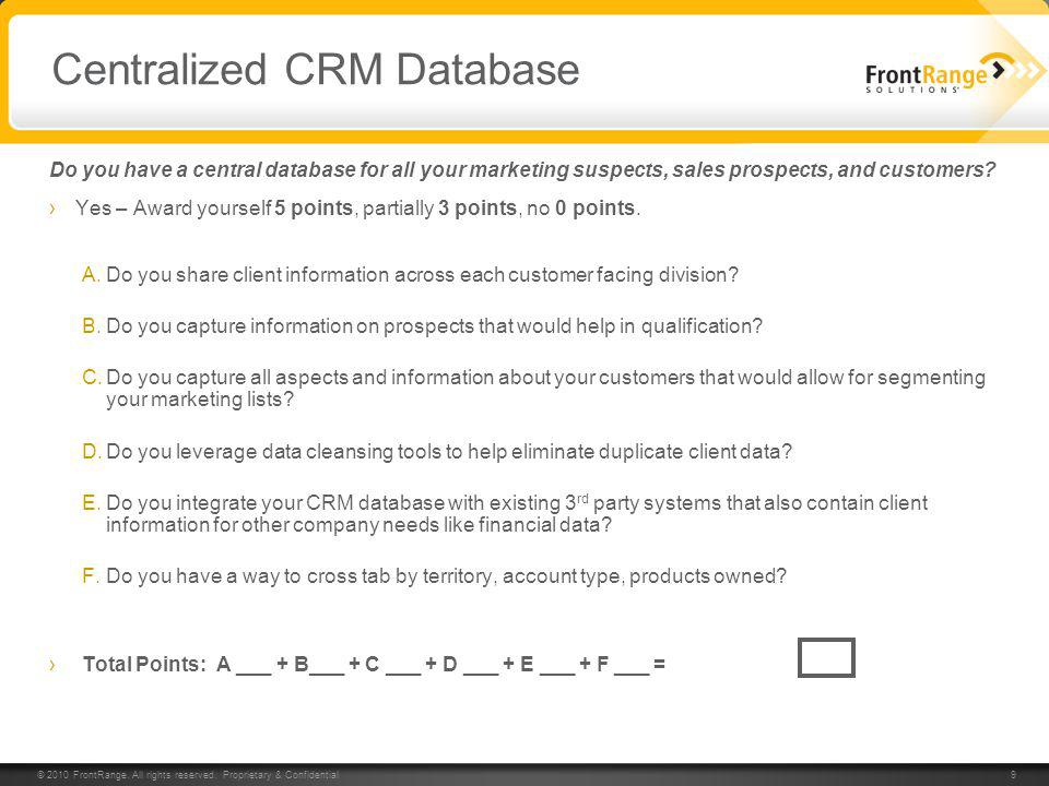 Centralized CRM Database