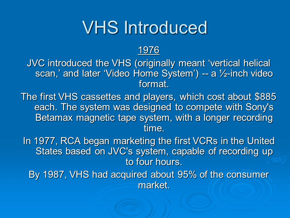 By 1987, VHS had acquired about 95% of the consumer market.