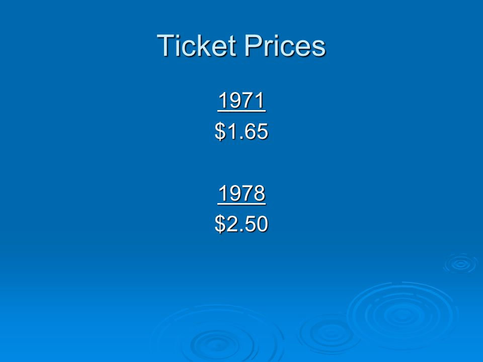 Ticket Prices 1971 $1.65 1978 $2.50