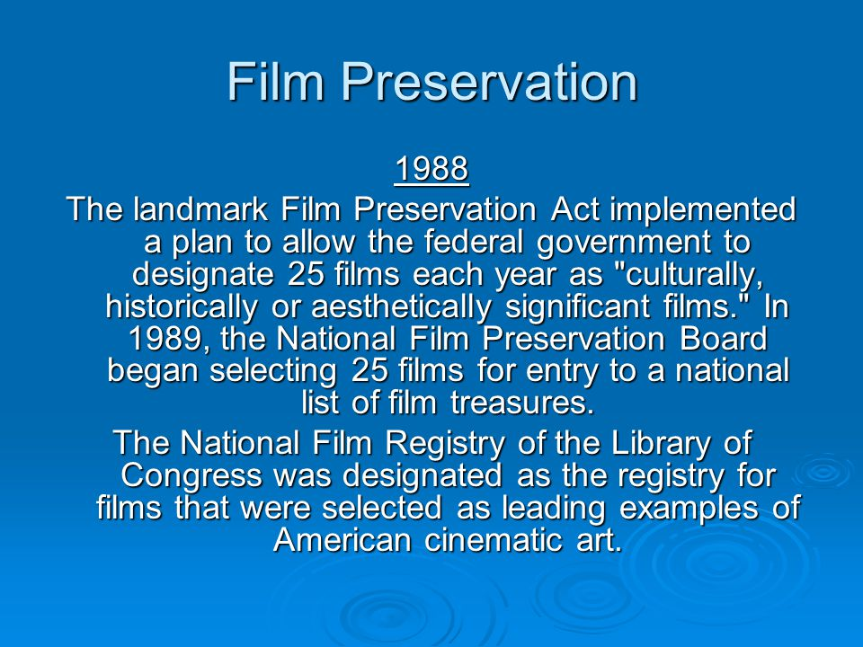 Film Preservation 1988.