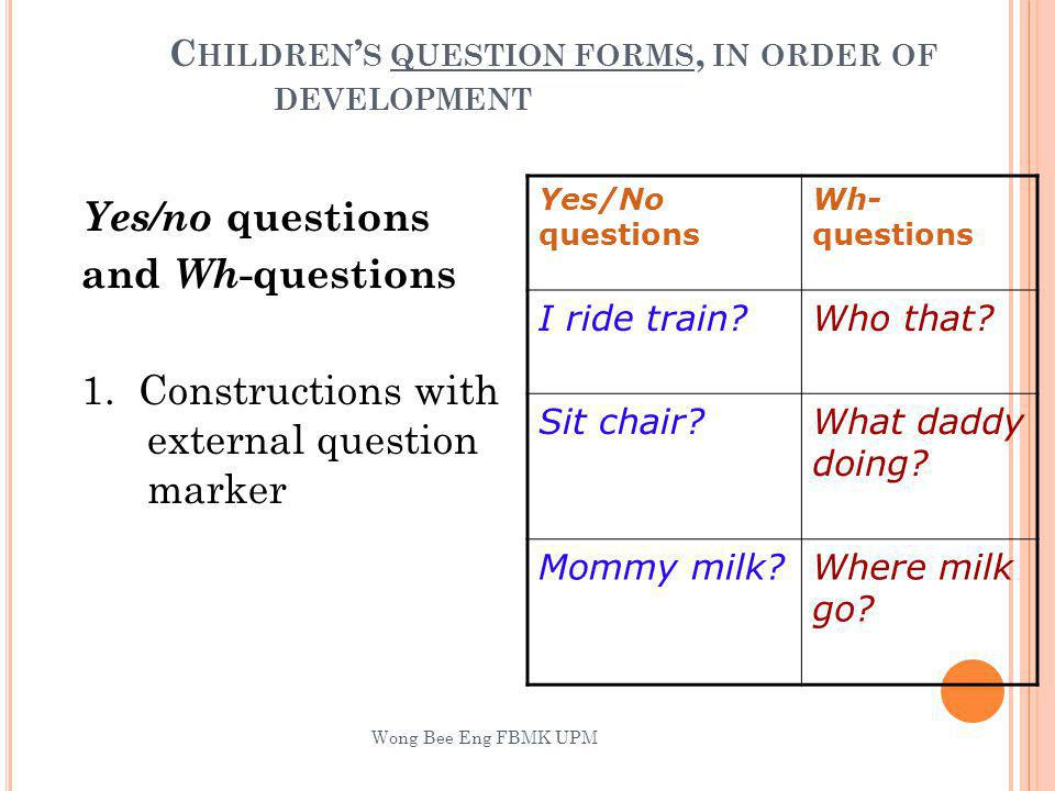 Children's question forms, in order of development