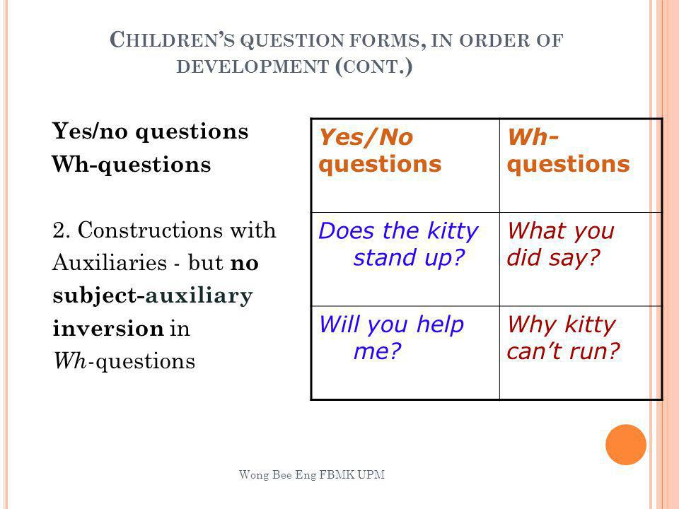 Children's question forms, in order of development (cont.)