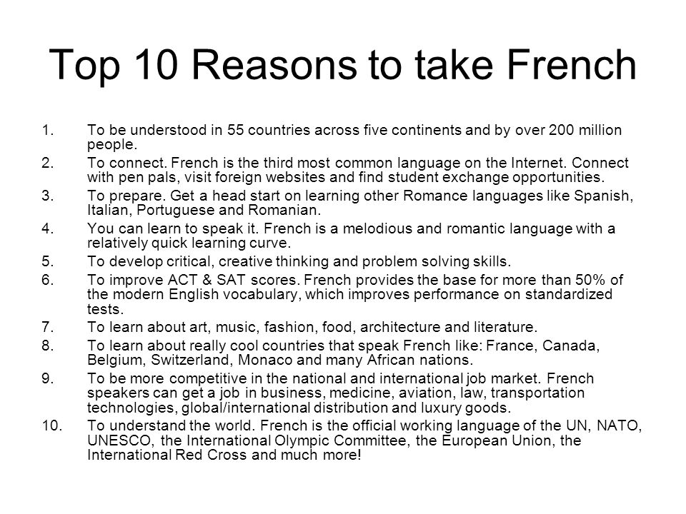 Top 10 Reasons to take French