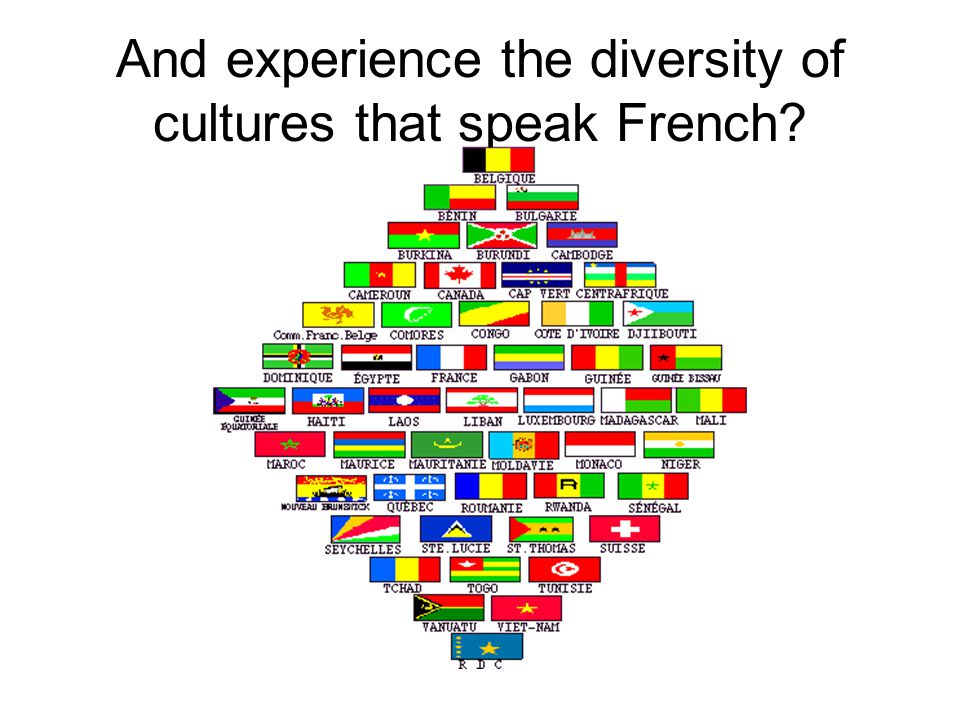 And experience the diversity of cultures that speak French