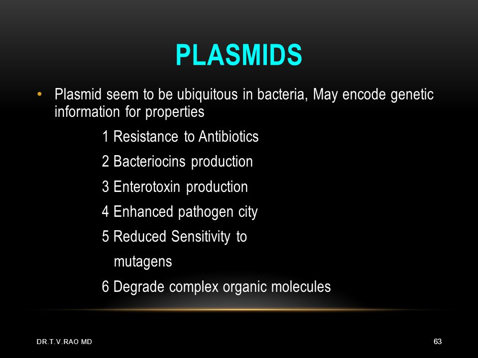 Plasmids Plasmid seem to be ubiquitous in bacteria, May encode genetic information for properties.