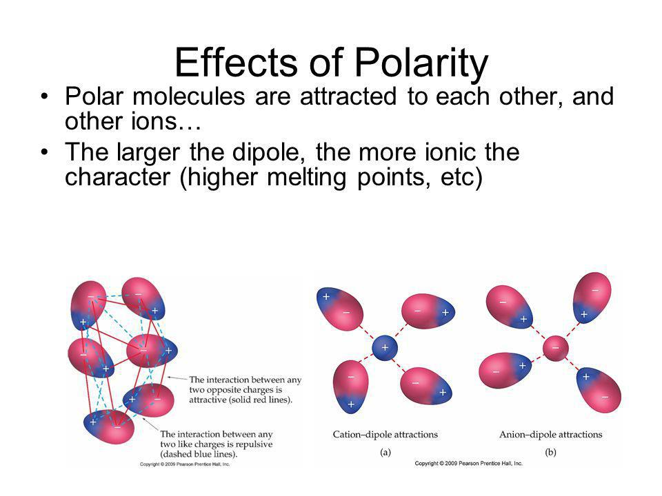 Effects of Polarity Polar molecules are attracted to each other, and other ions…