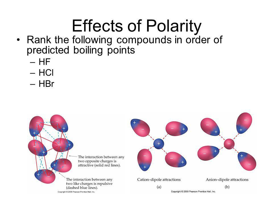 Effects of Polarity Rank the following compounds in order of predicted boiling points HF HCl HBr