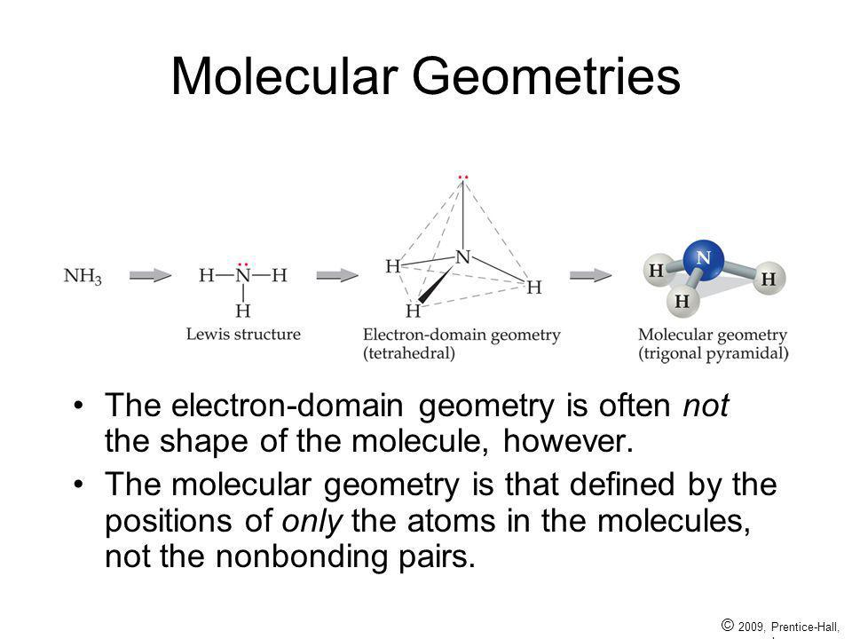 Molecular Geometries The electron-domain geometry is often not the shape of the molecule, however.