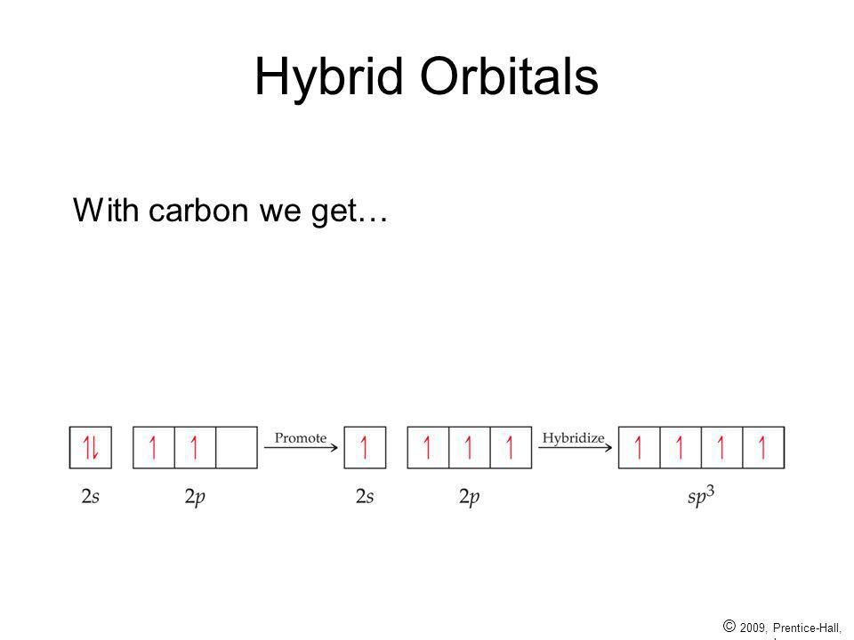 Hybrid Orbitals With carbon we get… © 2009, Prentice-Hall, Inc.