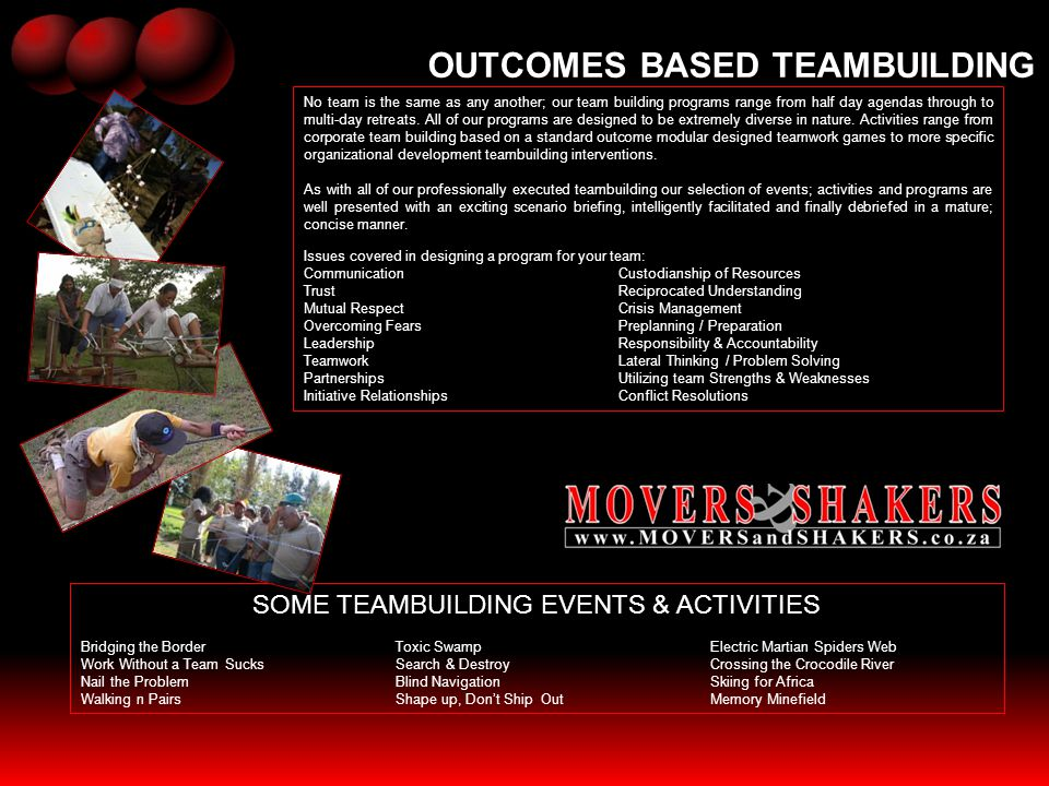 SOME TEAMBUILDING EVENTS & ACTIVITIES