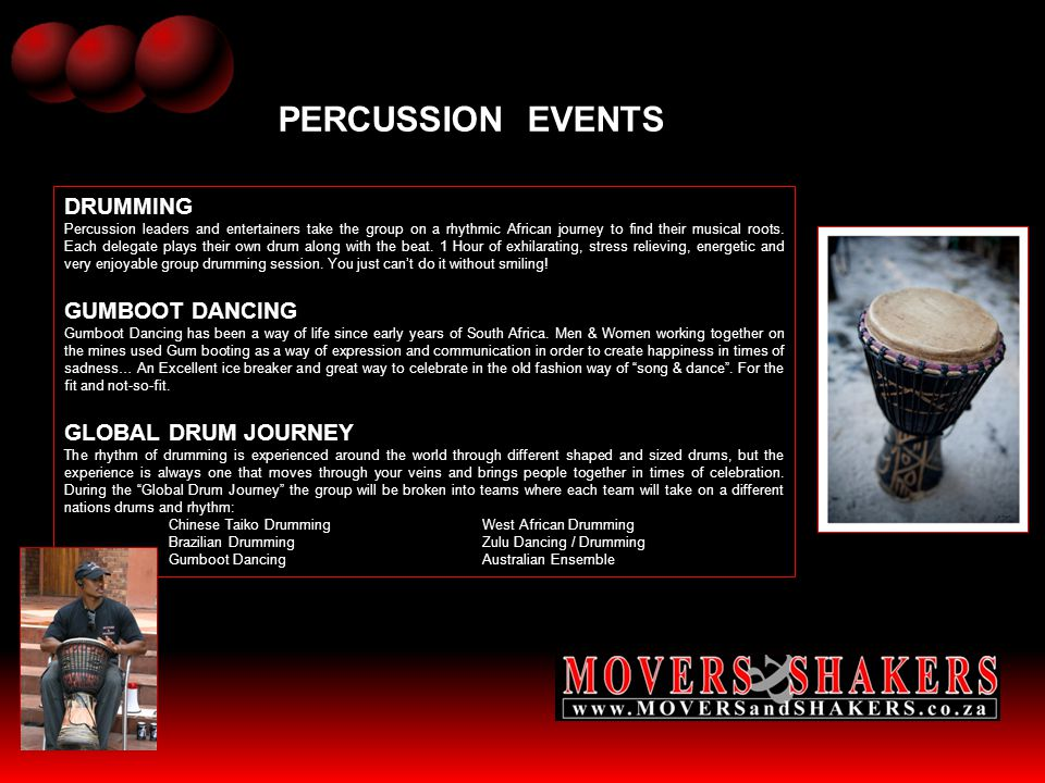 PERCUSSION EVENTS DRUMMING GUMBOOT DANCING GLOBAL DRUM JOURNEY