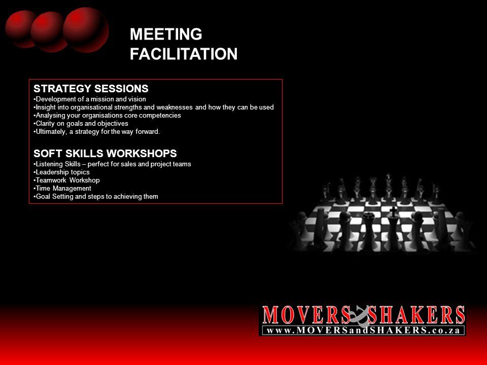 MEETING FACILITATION STRATEGY SESSIONS SOFT SKILLS WORKSHOPS