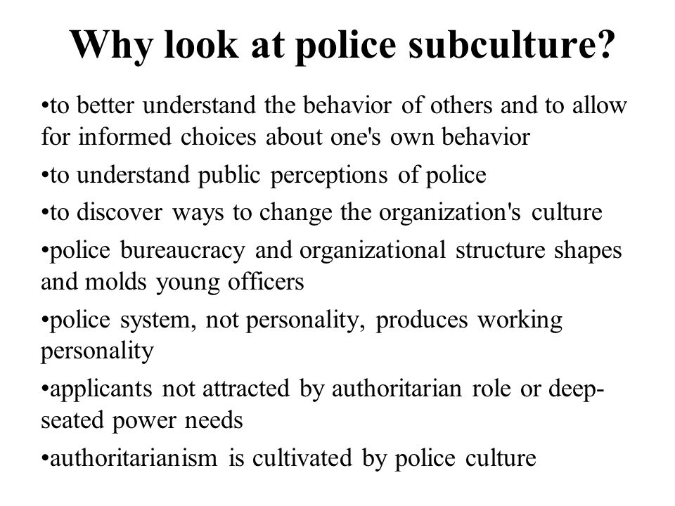 Why look at police subculture