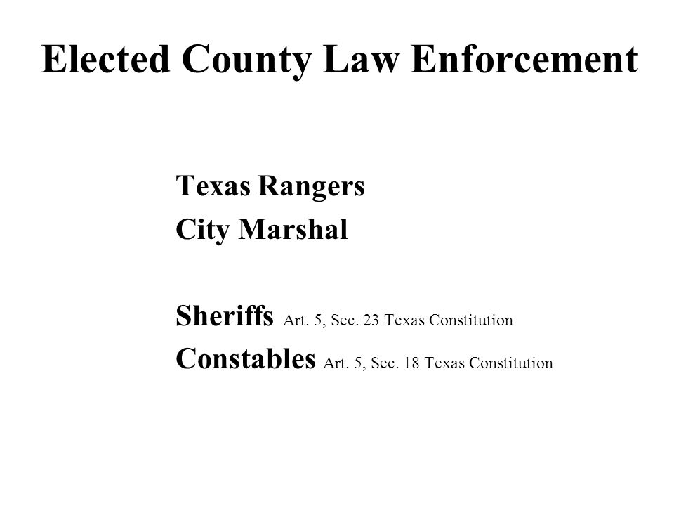 Elected County Law Enforcement