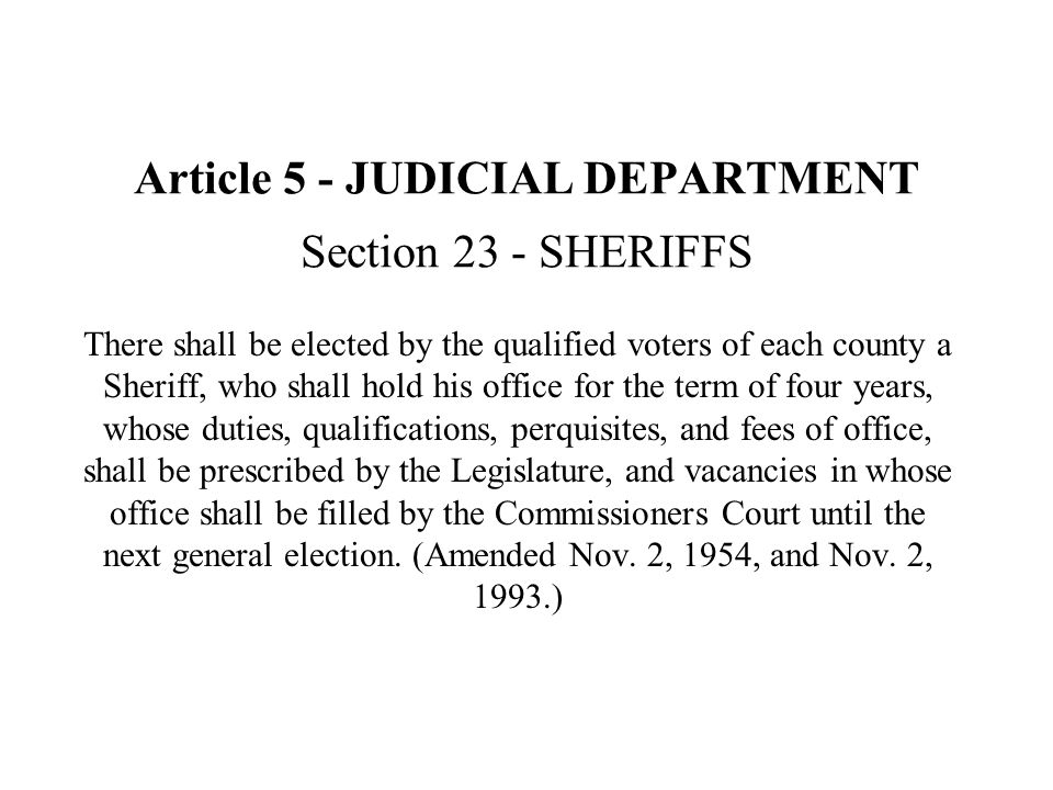 Article 5 - JUDICIAL DEPARTMENT Section 23 - SHERIFFS