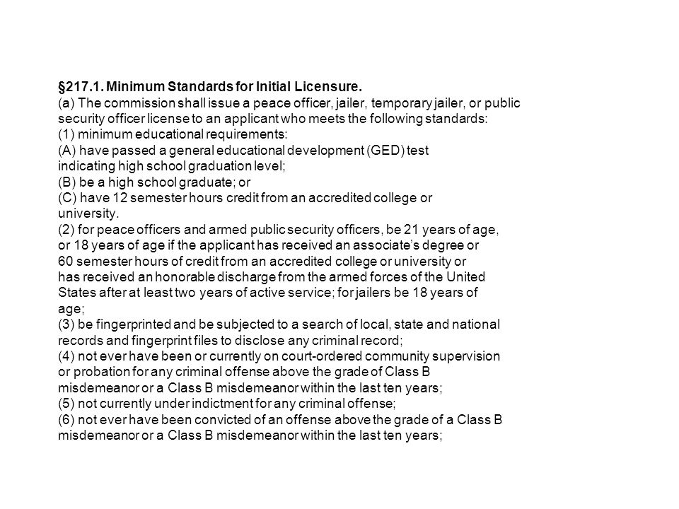 § Minimum Standards for Initial Licensure