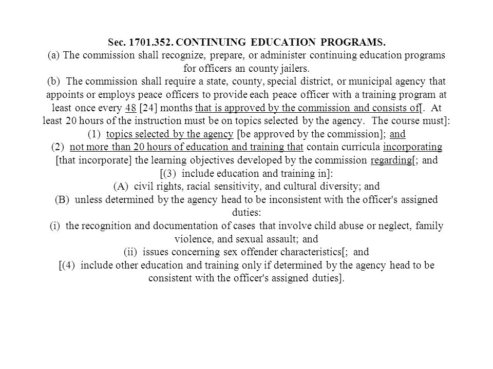 Sec. 1701. 352. CONTINUING EDUCATION PROGRAMS